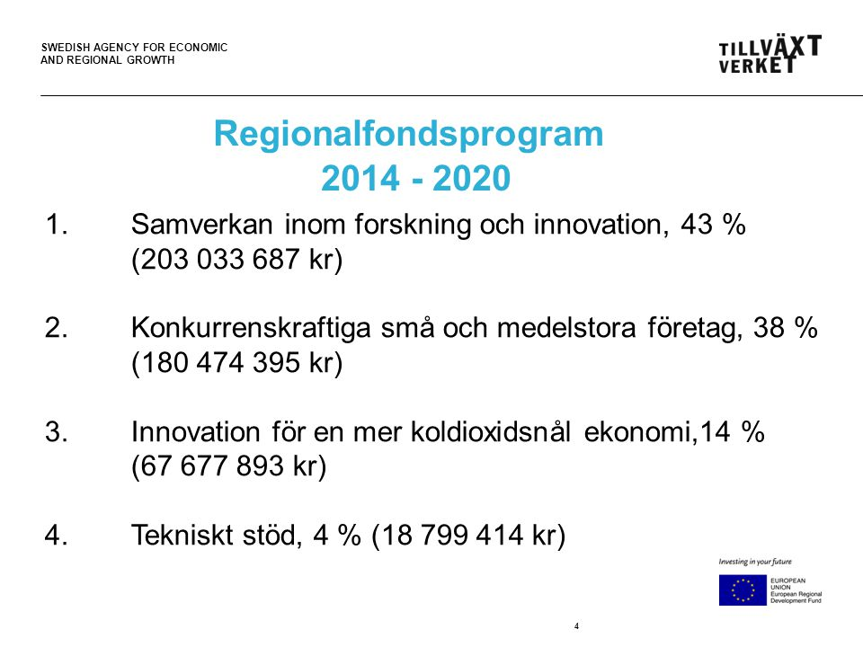 SWEDISH AGENCY FOR ECONOMIC AND REGIONAL GROWTH 4 1.