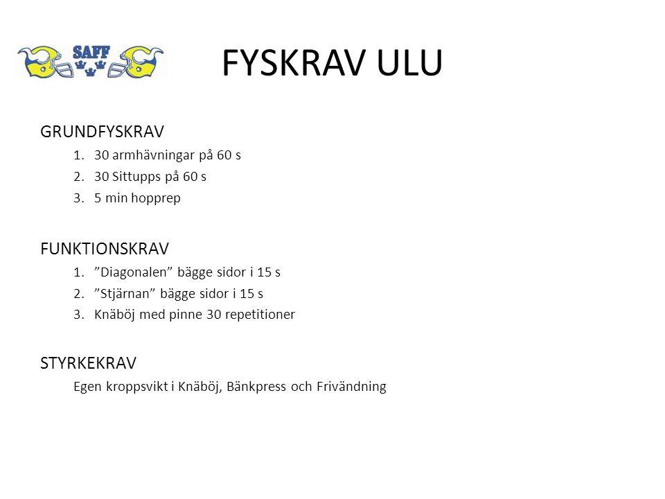 FYSKRAV ULU GRUNDFYSKRAV 1.30 armhävningar på 60 s 2.30 Sittupps på 60 s 3.5 min hopprep FUNKTIONSKRAV 1. Diagonalen bägge sidor i 15 s 2. Stjärnan bägge sidor i 15 s 3.Knäböj med pinne 30 repetitioner STYRKEKRAV Egen kroppsvikt i Knäböj, Bänkpress och Frivändning