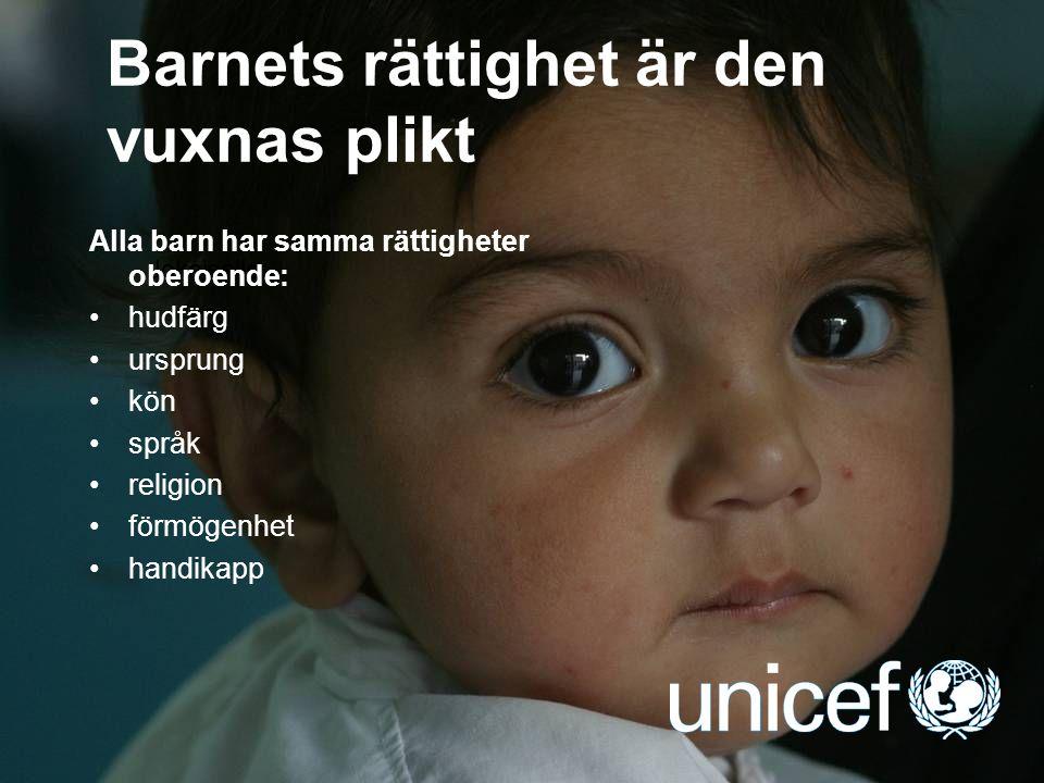 UNICEF Barnkonventionen Världens mest omfattande människorättsavtal, godkändes år 1989  193 länder har ratificerat avtalet, endast två länder står utanför  täcker folkliga, politiska, ekonomiska, sociala och kulturella rättigheter