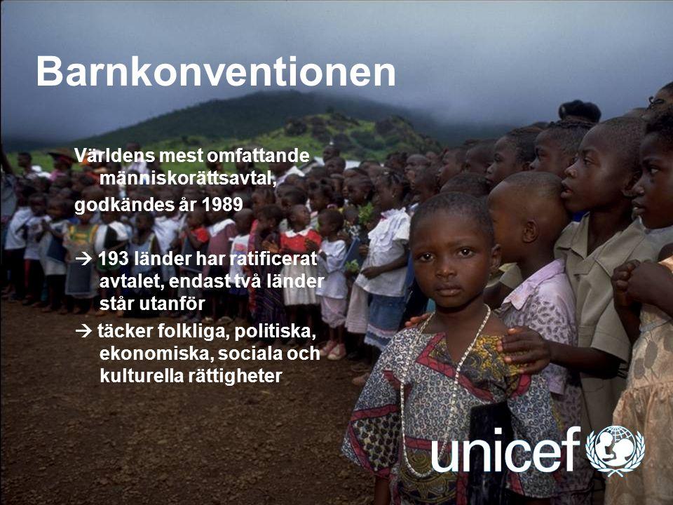 UNICEF Barnkonventionen Världens mest omfattande människorättsavtal, godkändes år 1989  193 länder har ratificerat avtalet, endast två länder står ut
