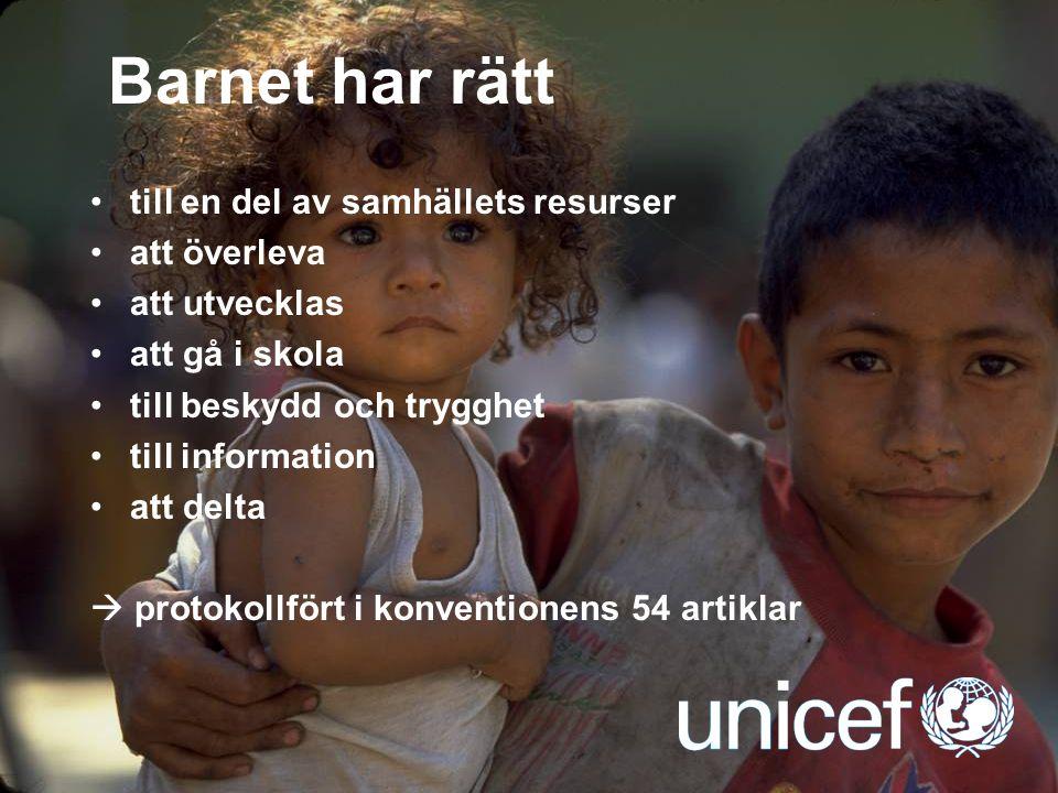 UNICEF Barnet har rätt till en del av samhällets resurser att överleva att utvecklas att gå i skola till beskydd och trygghet till information att del
