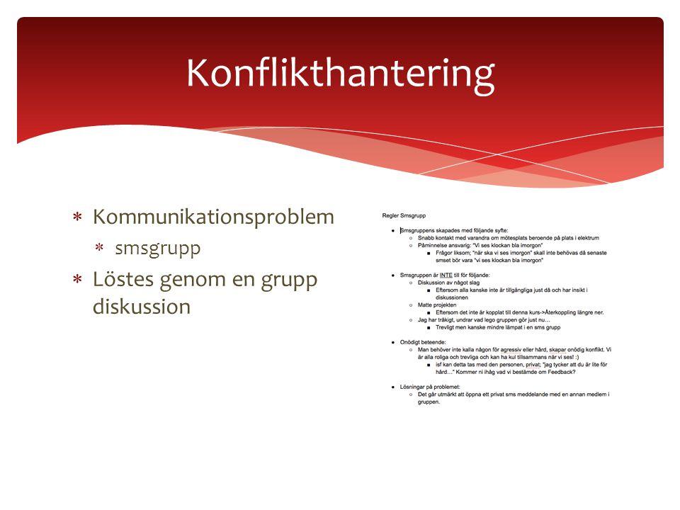  Kommunikationsproblem  smsgrupp  Löstes genom en grupp diskussion Konflikthantering