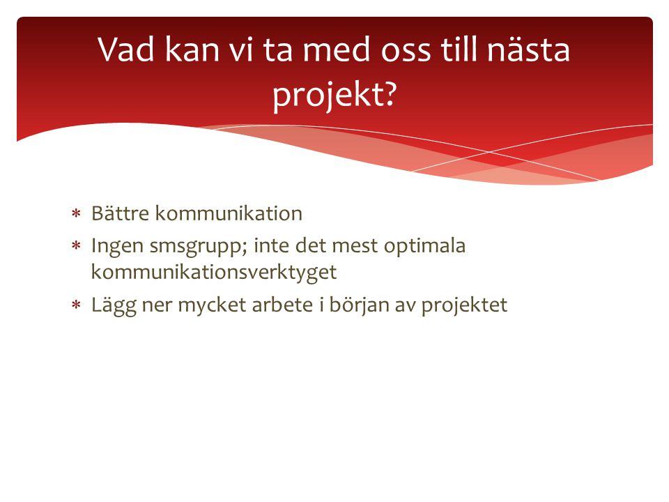  Bättre kommunikation  Ingen smsgrupp; inte det mest optimala kommunikationsverktyget  Lägg ner mycket arbete i början av projektet Vad kan vi ta m