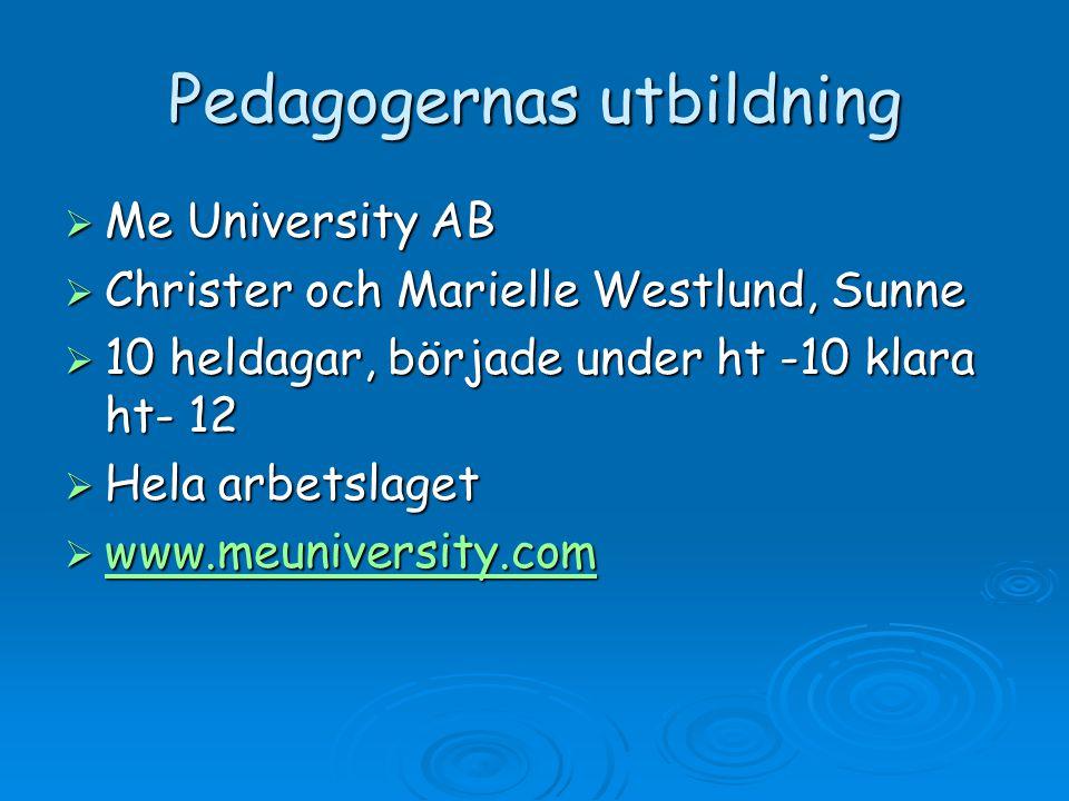 Pedagogernas utbildning  Me University AB  Christer och Marielle Westlund, Sunne  10 heldagar, började under ht -10 klara ht- 12  Hela arbetslaget  www.meuniversity.com www.meuniversity.com