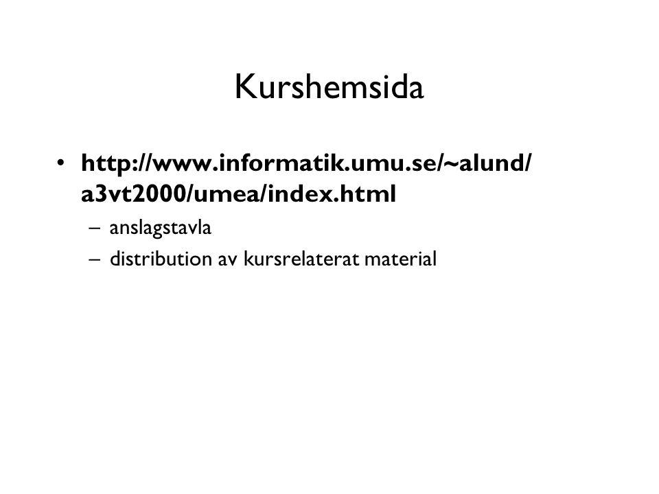 Kurshemsida http://www.informatik.umu.se/~alund/ a3vt2000/umea/index.html –anslagstavla –distribution av kursrelaterat material