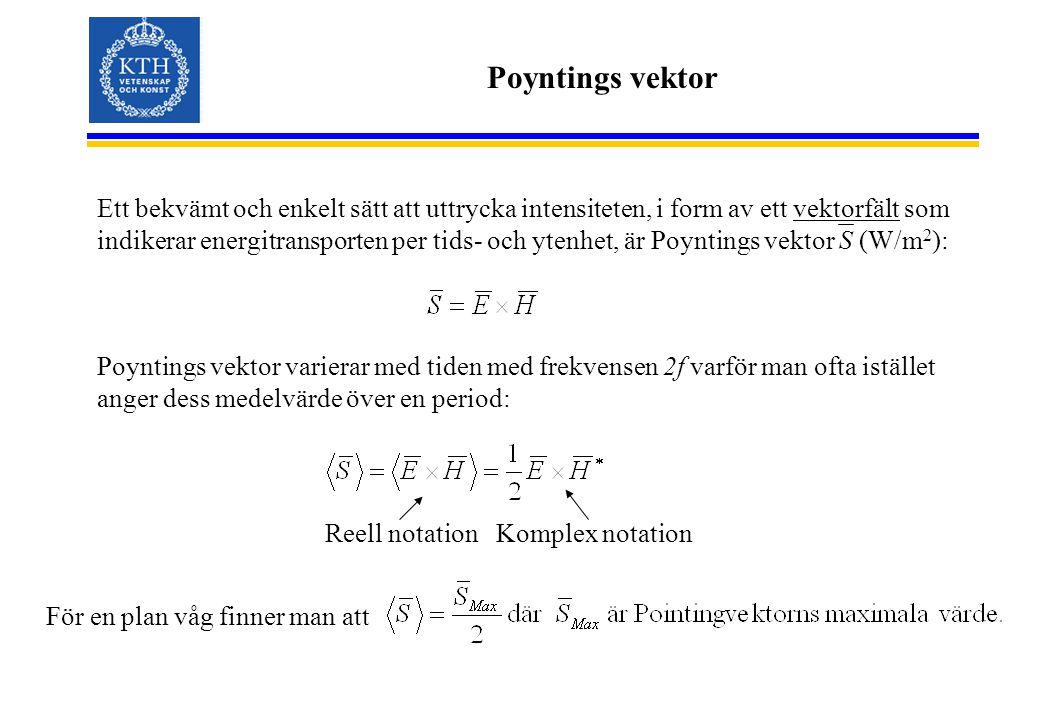 Poyntings vektor Ett bekvämt och enkelt sätt att uttrycka intensiteten, i form av ett vektorfält som indikerar energitransporten per tids- och ytenhet, är Poyntings vektor S (W/m 2 ): Poyntings vektor varierar med tiden med frekvensen 2f varför man ofta istället anger dess medelvärde över en period: För en plan våg finner man att Reell notationKomplex notation