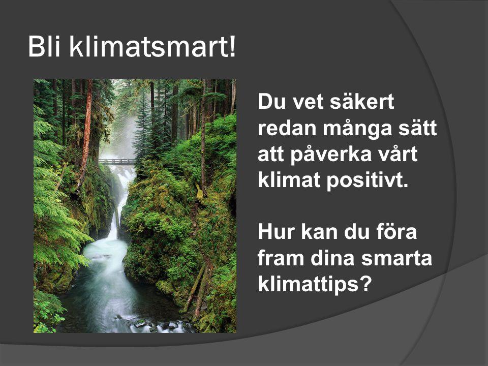Bli klimatsmart.Du vet säkert redan många sätt att påverka vårt klimat positivt.
