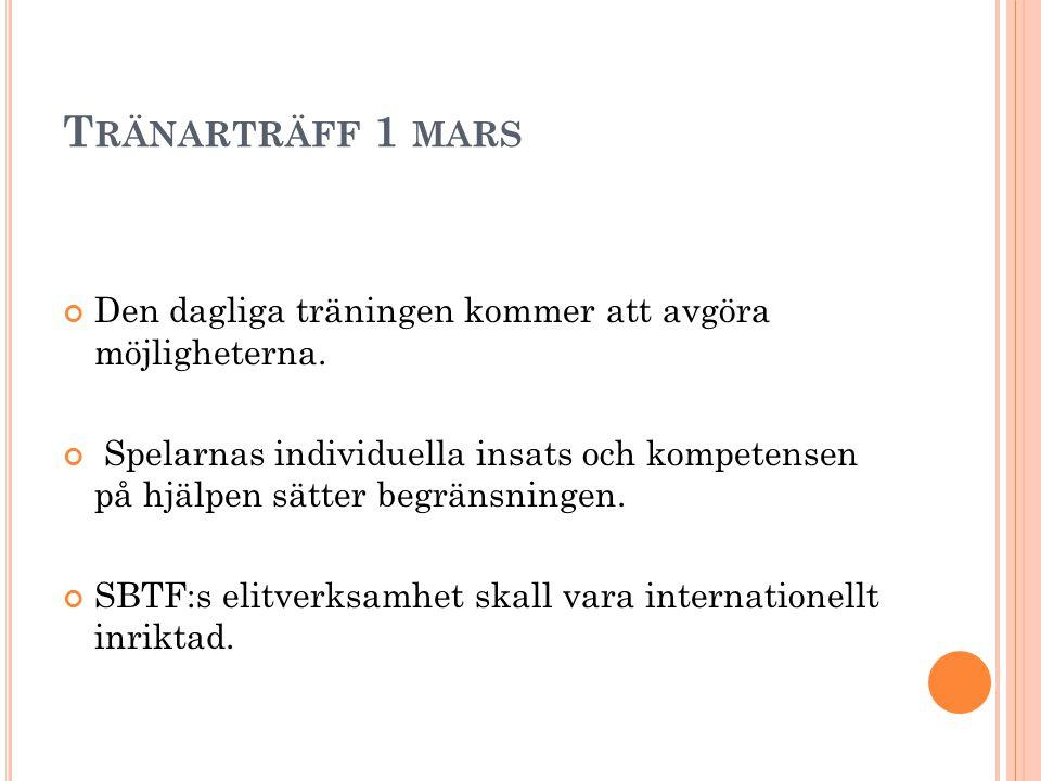 T RÄNARTRÄFF 1 MARS Den dagliga träningen kommer att avgöra möjligheterna.