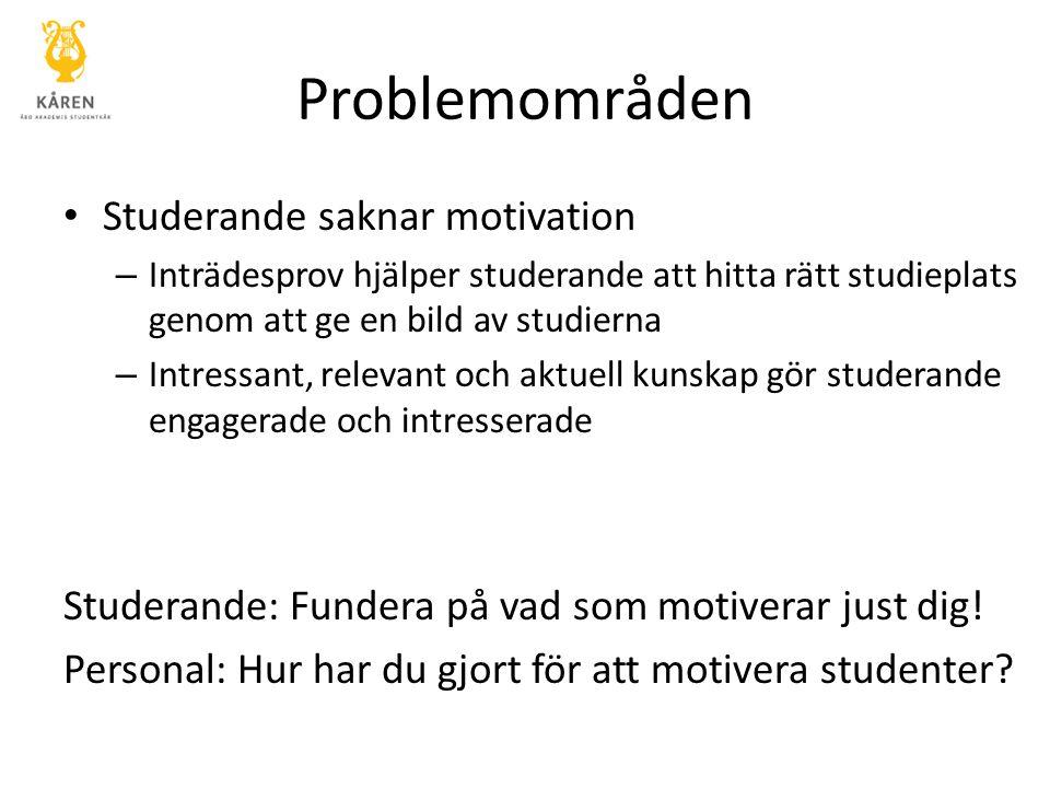 Problemområden Studerande saknar motivation – Inträdesprov hjälper studerande att hitta rätt studieplats genom att ge en bild av studierna – Intressan