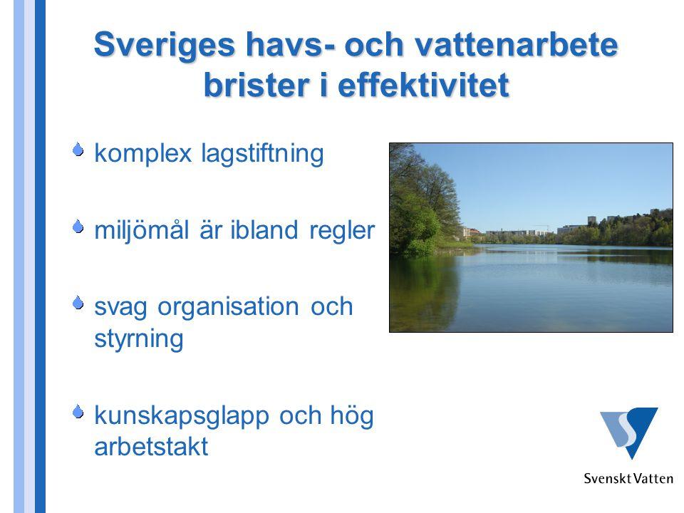 Sveriges havs- och vattenarbete brister i effektivitet komplex lagstiftning miljömål är ibland regler svag organisation och styrning kunskapsglapp och hög arbetstakt