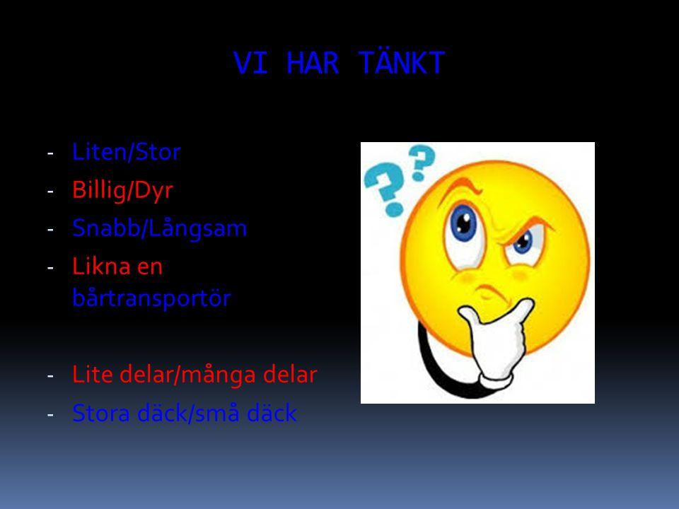VI HAR TÄNKT - Liten/Stor - Billig/Dyr - Snabb/Långsam - Likna en bårtransportör - Lite delar/många delar - Stora däck/små däck
