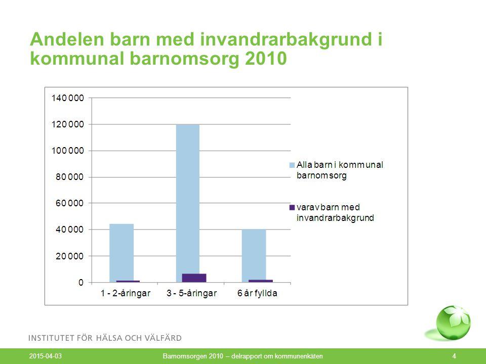Barn i den lägsta respektive högsta avgiftsklassen inom barnomsorgen 2007 och 2010 2015-04-03 Barnomsorgen 2010 – delrapport om kommunenkäten5