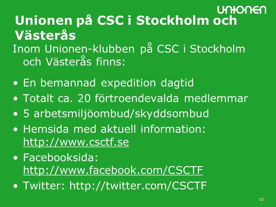 12 Unionen på CSC i Stockholm och Västerås Inom Unionen-klubben på CSC i Stockholm och Västerås finns: En bemannad expedition dagtid Totalt ca.