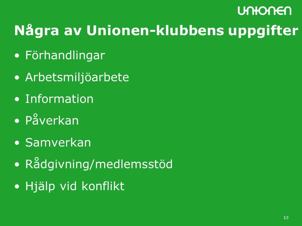 13 Några av Unionen-klubbens uppgifter Förhandlingar Arbetsmiljöarbete Information Påverkan Samverkan Rådgivning/medlemsstöd Hjälp vid konflikt