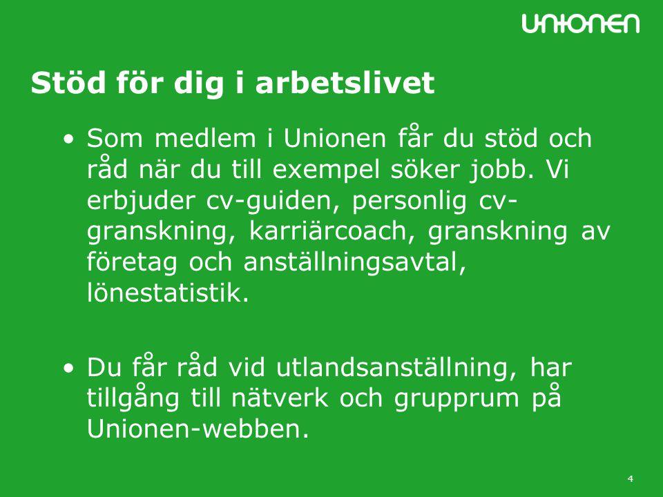 4 Stöd för dig i arbetslivet Som medlem i Unionen får du stöd och råd när du till exempel söker jobb.
