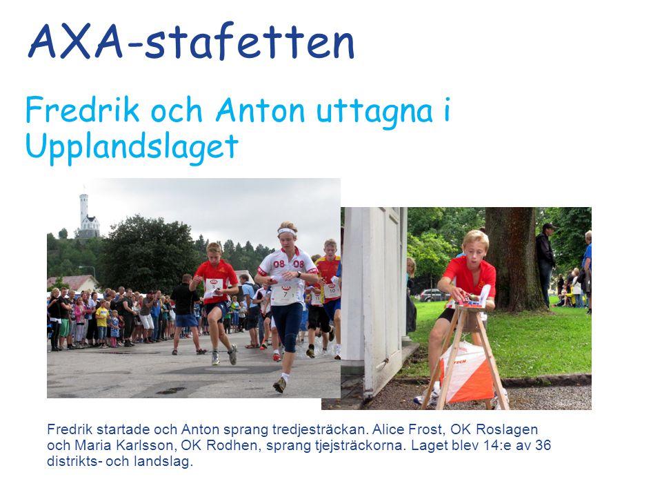 AXA-stafetten Fredrik och Anton uttagna i Upplandslaget Fredrik startade och Anton sprang tredjesträckan.