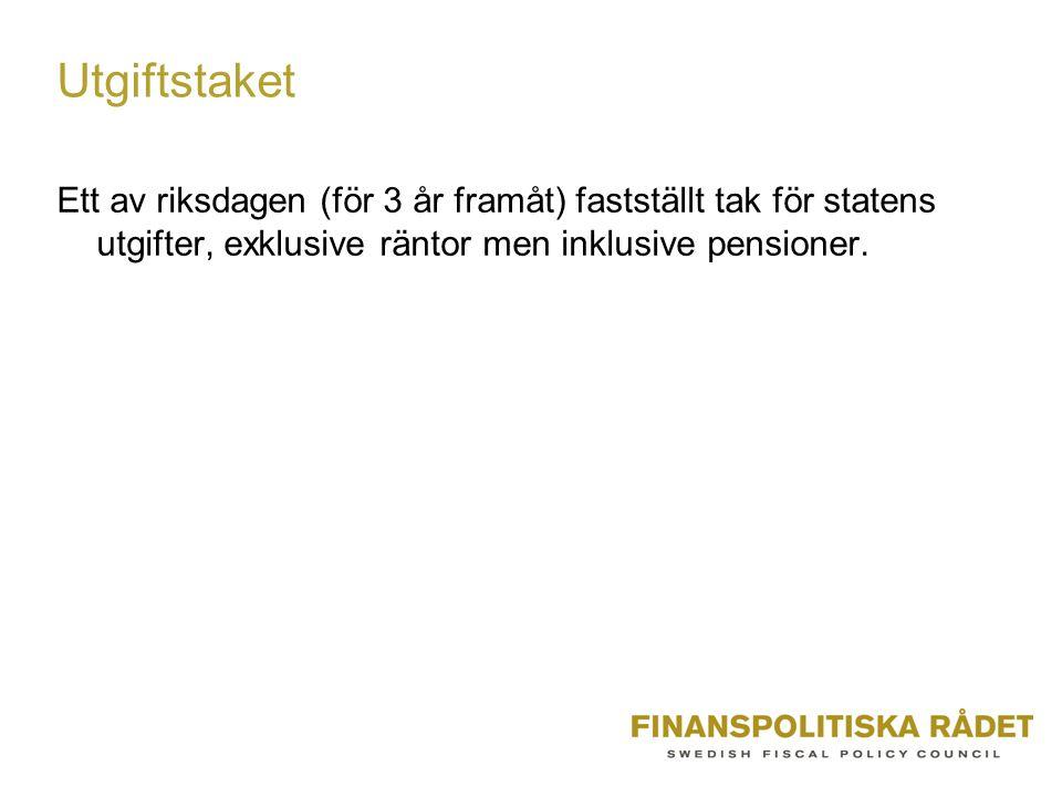 Utgiftstaket Ett av riksdagen (för 3 år framåt) fastställt tak för statens utgifter, exklusive räntor men inklusive pensioner.