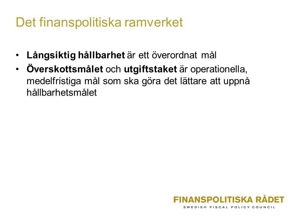 Det finanspolitiska ramverket Långsiktig hållbarhet är ett överordnat mål Överskottsmålet och utgiftstaket är operationella, medelfristiga mål som ska göra det lättare att uppnå hållbarhetsmålet