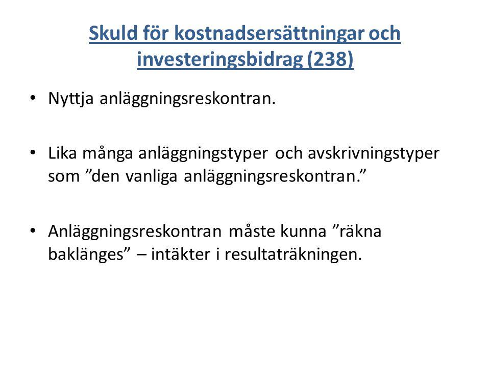 Skuld för kostnadsersättningar och investeringsbidrag (238) Nyttja anläggningsreskontran.