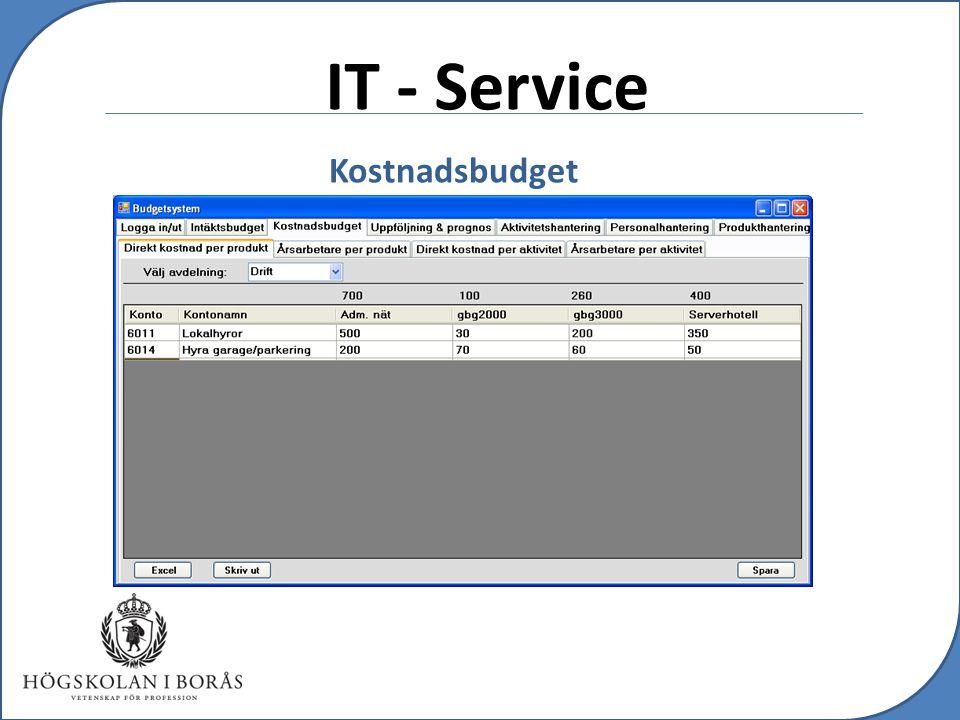 IT - Service Kostnadsbudget