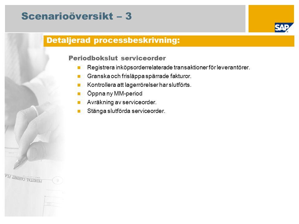 Scenarioöversikt – 3 Periodbokslut serviceorder Registrera inköpsorderrelaterade transaktioner för leverantörer. Granska och frisläppa spärrade faktur