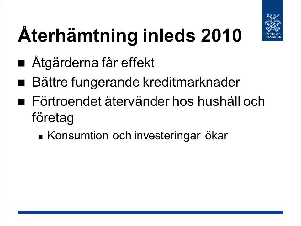 Återhämtning inleds 2010 Åtgärderna får effekt Bättre fungerande kreditmarknader Förtroendet återvänder hos hushåll och företag Konsumtion och investe