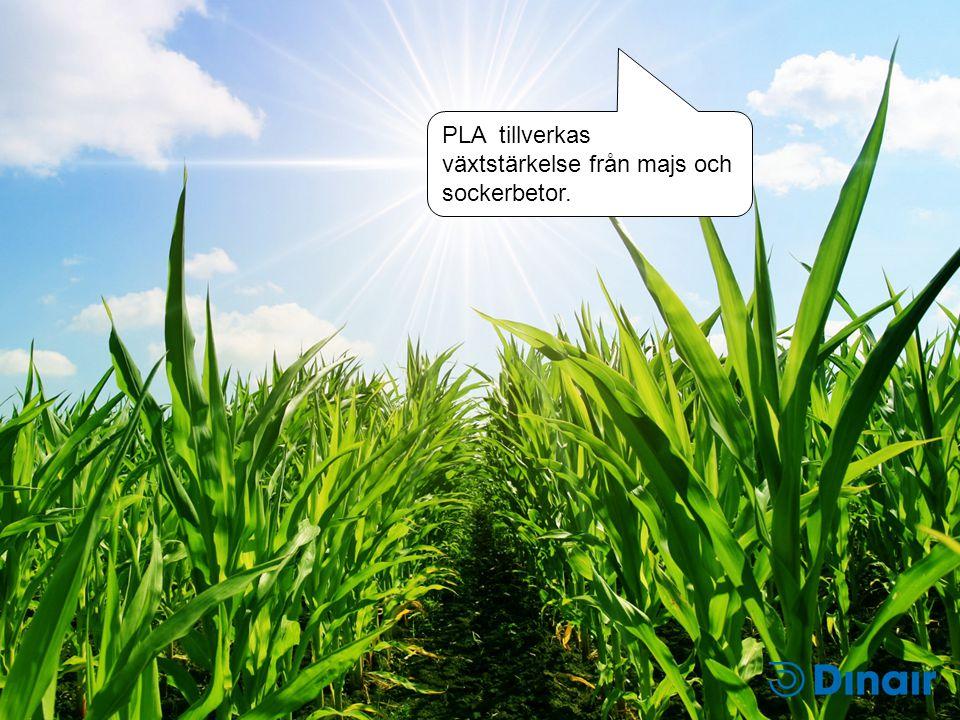 PLA tillverkas växtstärkelse från majs och sockerbetor.