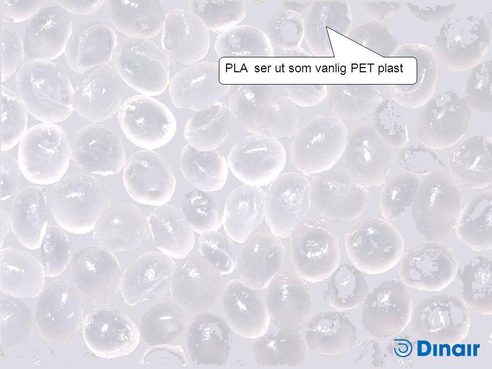 PLA ser ut som vanlig PET plast