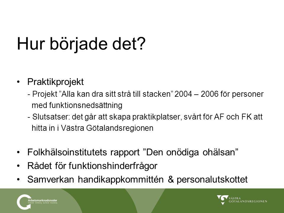"""Hur började det? Praktikprojekt - Projekt """"Alla kan dra sitt strå till stacken"""" 2004 – 2006 för personer med funktionsnedsättning - Slutsatser: det gå"""