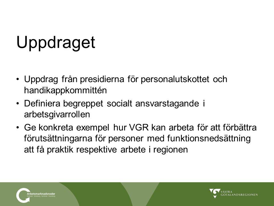 Uppdraget Uppdrag från presidierna för personalutskottet och handikappkommittén Definiera begreppet socialt ansvarstagande i arbetsgivarrollen Ge konk