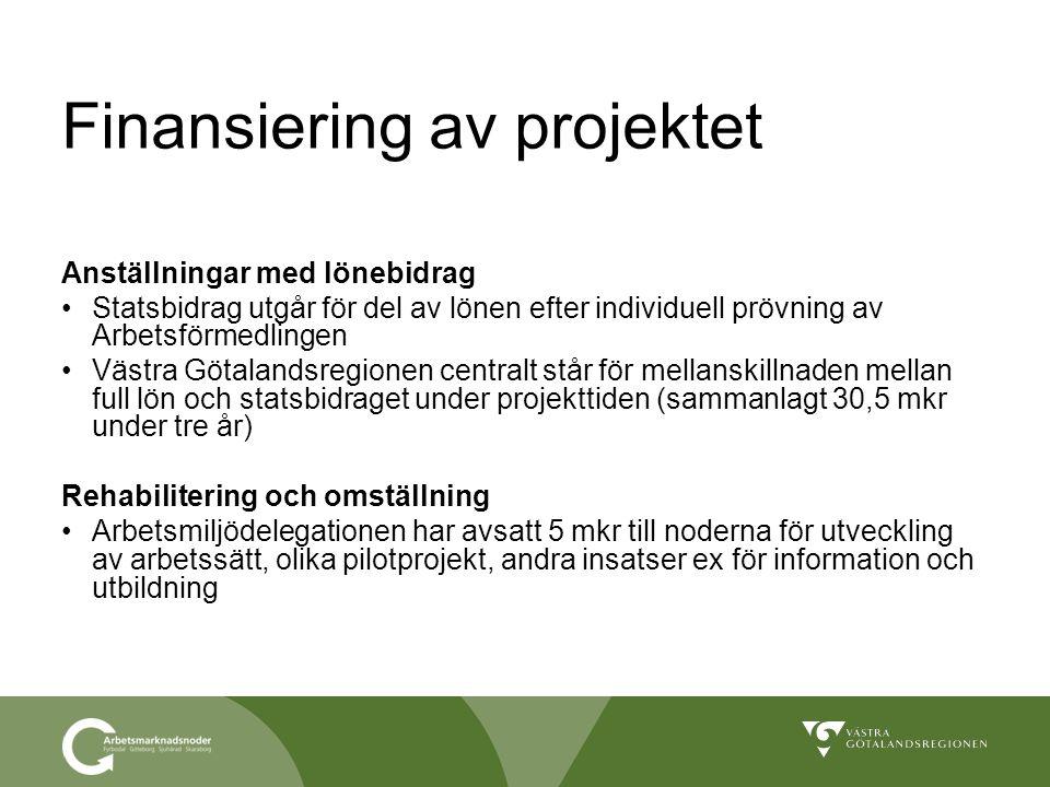 Finansiering av projektet Anställningar med lönebidrag Statsbidrag utgår för del av lönen efter individuell prövning av Arbetsförmedlingen Västra Göta