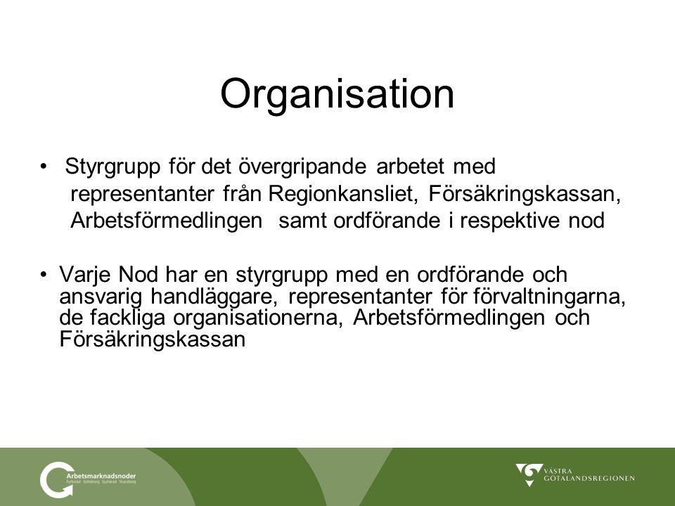 Organisation Styrgrupp för det övergripande arbetet med representanter från Regionkansliet, Försäkringskassan, Arbetsförmedlingen samt ordförande i re