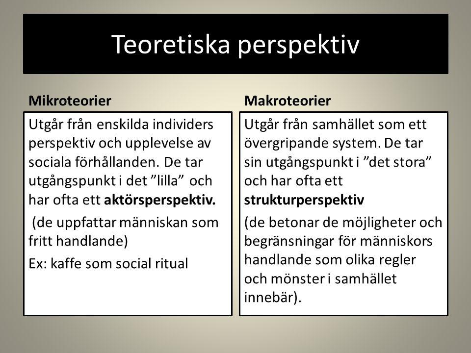 Teoretiska perspektiv MikroteorierMakroteorier Utgår från enskilda individers perspektiv och upplevelse av sociala förhållanden.