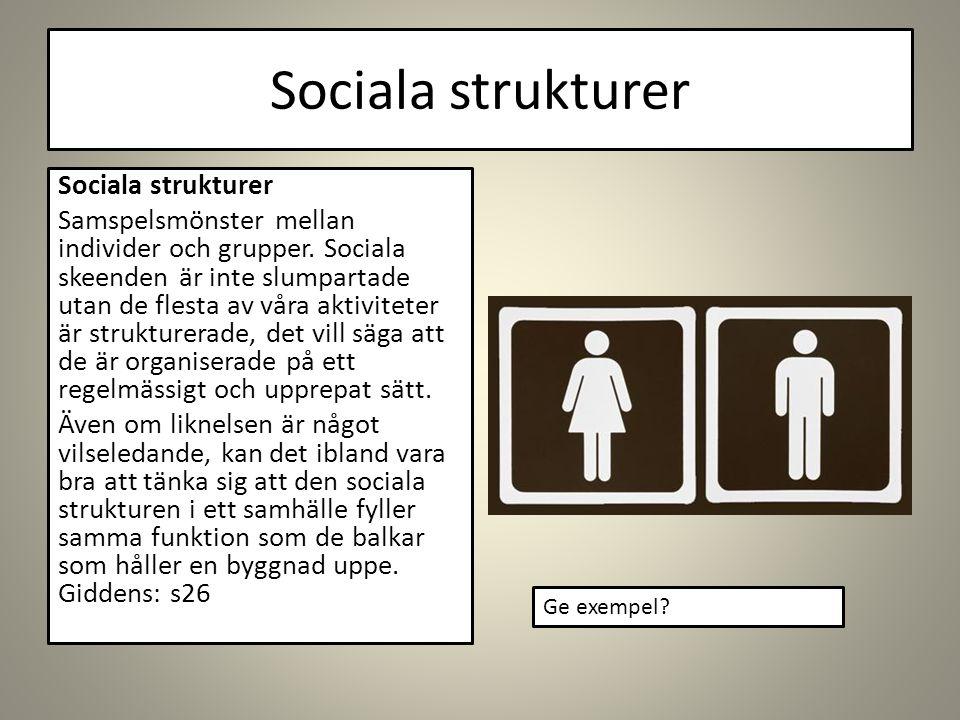 Sociala strukturer Samspelsmönster mellan individer och grupper.