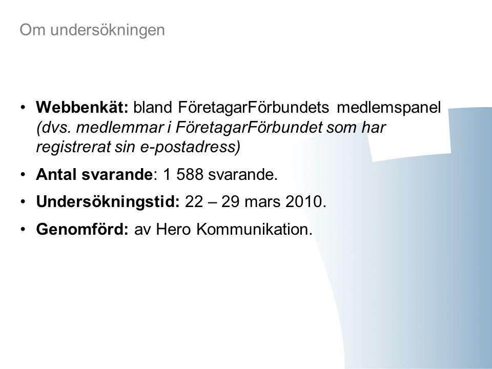 Om undersökningen Webbenkät: bland FöretagarFörbundets medlemspanel (dvs.