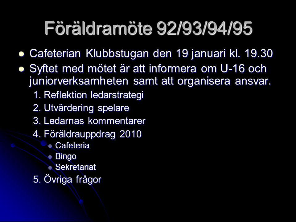 Föräldramöte 92/93/94/95 Cafeterian Klubbstugan den 19 januari kl.