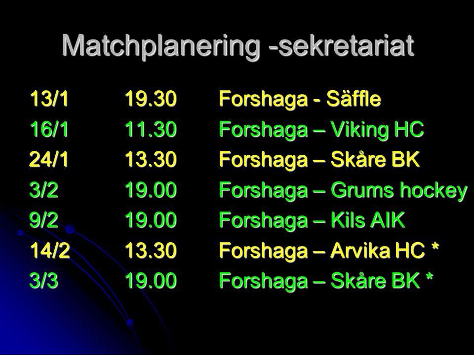 Matchplanering -sekretariat 13/119.30Forshaga - Säffle 16/111.30Forshaga – Viking HC 24/113.30Forshaga – Skåre BK 3/219.00Forshaga – Grums hockey 9/21