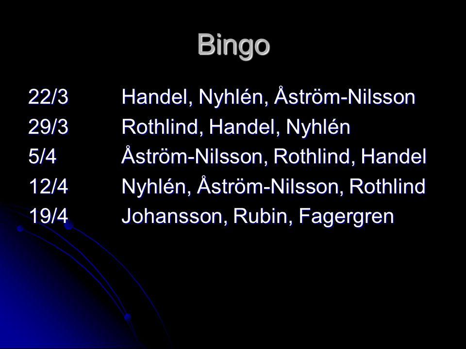 Bingo 22/3Handel, Nyhlén, Åström-Nilsson 29/3Rothlind, Handel, Nyhlén 5/4Åström-Nilsson, Rothlind, Handel 12/4Nyhlén, Åström-Nilsson, Rothlind 19/4Johansson, Rubin, Fagergren