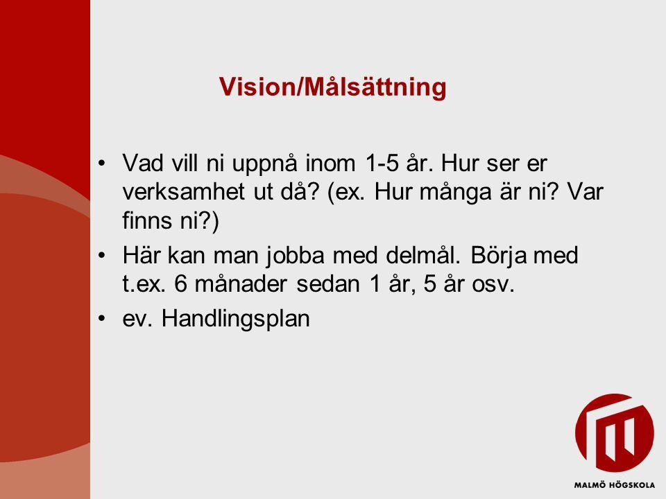 Vision/Målsättning Vad vill ni uppnå inom 1-5 år. Hur ser er verksamhet ut då? (ex. Hur många är ni? Var finns ni?) Här kan man jobba med delmål. Börj