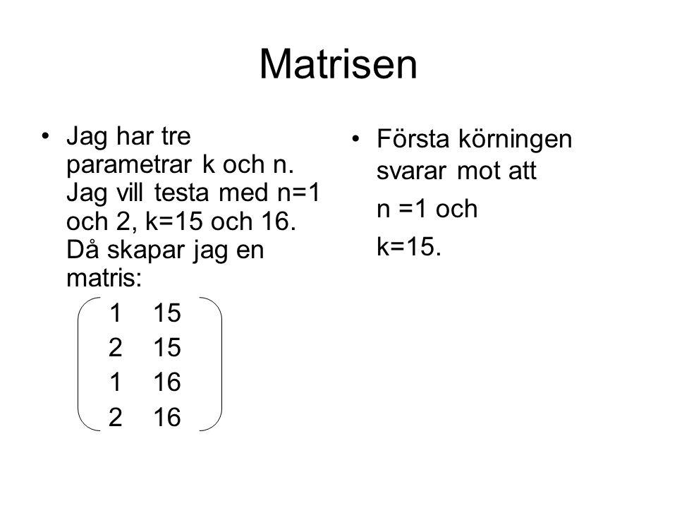 Matrisen Jag har tre parametrar k och n. Jag vill testa med n=1 och 2, k=15 och 16.