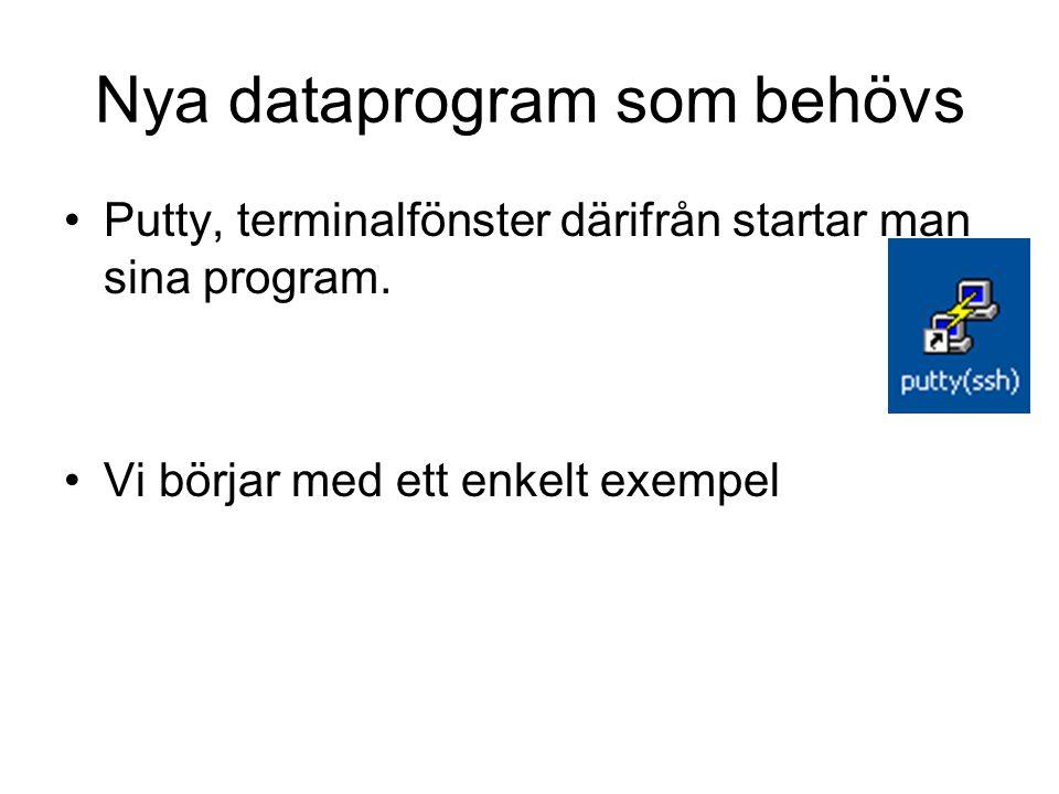 Nya dataprogram som behövs Putty, terminalfönster därifrån startar man sina program.