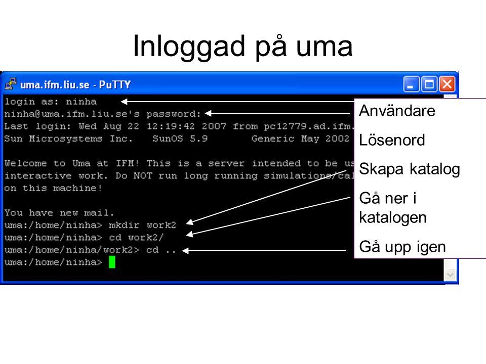 Inloggad på uma Användare Lösenord Skapa katalog Gå ner i katalogen Gå upp igen