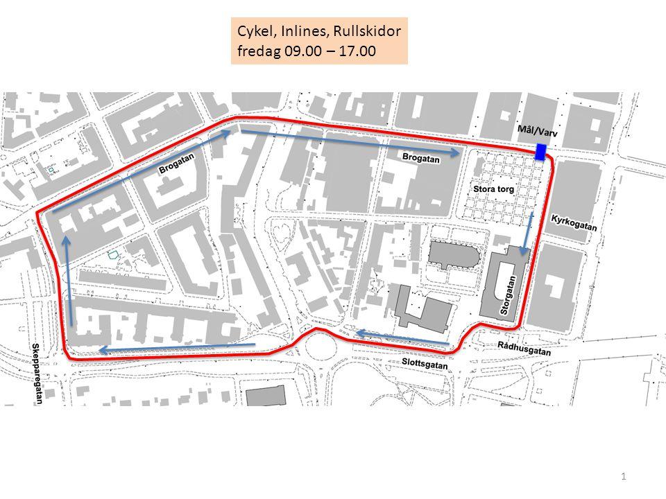1 Cykel, Inlines, Rullskidor fredag 09.00 – 17.00 Mål/Varv