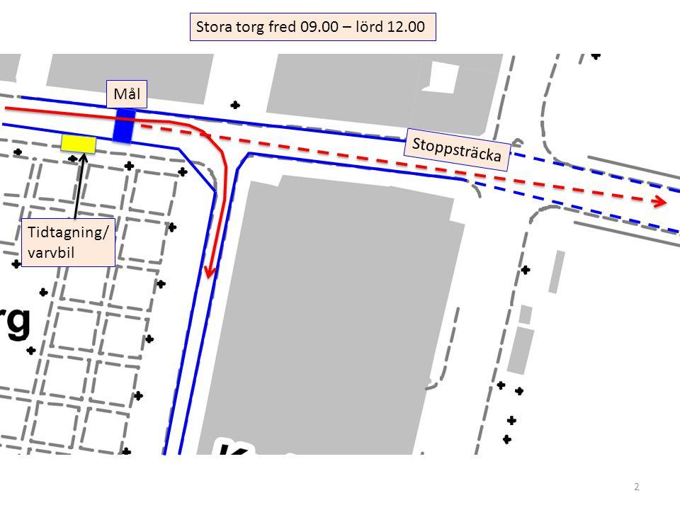 2 Stora torg fred 09.00 – lörd 12.00 Mål Tidtagning/ varvbil Stoppsträcka