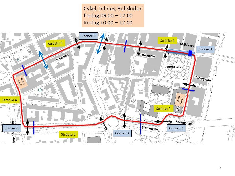 3 Cykel, Inlines, Rullskidor fredag 09.00 – 17.00 lördag 10.00 – 12.00 Sträcka 1 Sträcka 4 Sträcka 5 Sträcka 3 Sträcka 2 Corner 5 Corner 4 Corner 3 Corner 2 Corner 1 Wheel- stop 2 Wheel- Stop 1 Mål/Varv