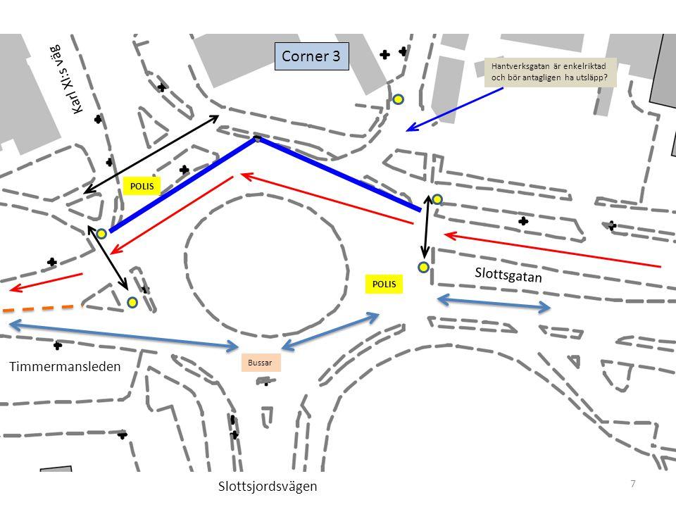 7 Corner 3 Timmermansleden Slottsgatan Karl XI:s väg Slottsjordsvägen POLIS Hantverksgatan är enkelriktad och bör antagligen ha utsläpp.
