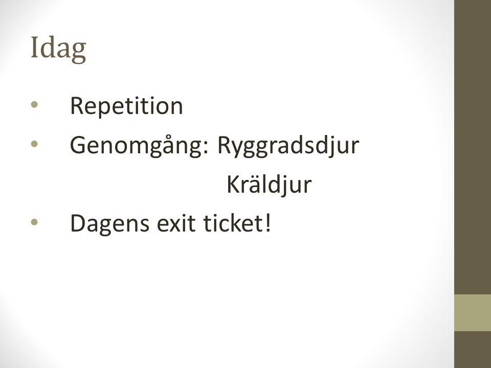 Idag Repetition Genomgång: Ryggradsdjur Kräldjur Dagens exit ticket!