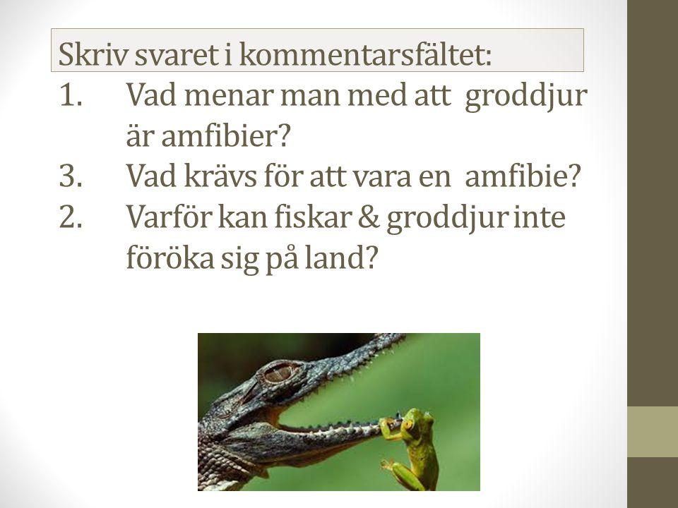 Skriv svaret i kommentarsfältet: 1.Vad menar man med att groddjur är amfibier.