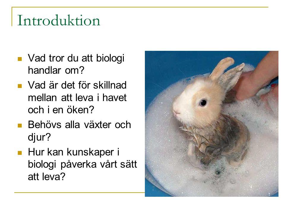 Introduktion Vad tror du att biologi handlar om? Vad är det för skillnad mellan att leva i havet och i en öken? Behövs alla växter och djur? Hur kan k