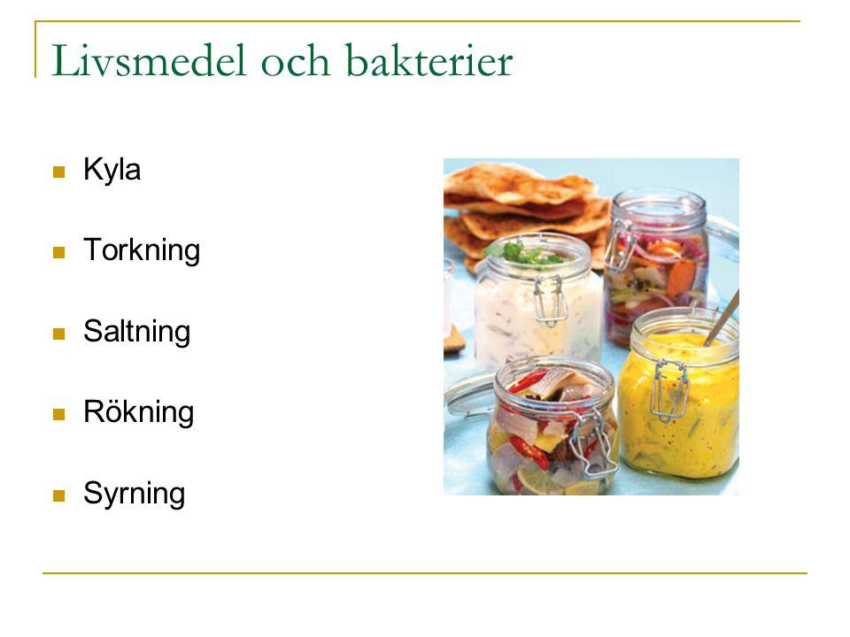 Livsmedel och bakterier Kyla Torkning Saltning Rökning Syrning